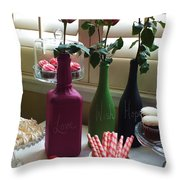 Chalkboard Paint Bottles Throw Pillow by Anna Villarreal Garbis