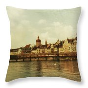 Chapel Bridge Lucerne Switzerland Throw Pillow by Susanne Van Hulst