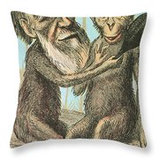 Charles Darwin Caricature, 1874 Throw Pillow by Science Source