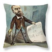 Charles Guiteau Cartoon Throw Pillow by Granger