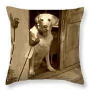 Charleston Shop Dog In Sepia Throw Pillow by Suzanne Gaff