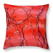 Cheery Blossom Throw Pillow by Anil Nene