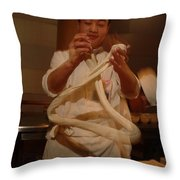 Chef Twirls Dough As He Makes Fresh Throw Pillow by Richard Nowitz