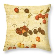 Cherries Throw Pillow by Bonnie Bruno