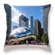 Chicago Bean Cloud Gate With People Throw Pillow by Paul Velgos