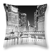 Chicago Cityscape At Night At Dusable Bridge Throw Pillow by Paul Velgos