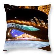 Chicago Cloud Gate Luminous Field Throw Pillow by Paul Velgos