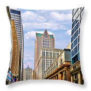 Chicago - Looking South From Lasalle Street Throw Pillow by Christine Till