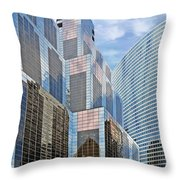 Chicago - One South Wacker And Hyatt Center Throw Pillow by Christine Till