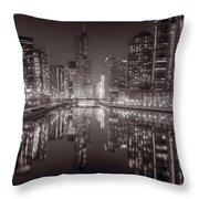 Chicago River East Bw Throw Pillow by Steve Gadomski