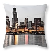 Chicago Skyline At Dusk Photo Throw Pillow by Paul Velgos