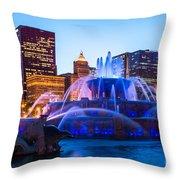 Chicago Skyline Buckingham Fountain High Resolution Throw Pillow by Paul Velgos