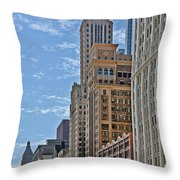 Chicago Willoughby Tower And 6 N Michigan Avenue Throw Pillow by Christine Till