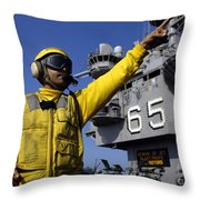 Chief Aviation Boatswains Mate Directs Throw Pillow by Stocktrek Images