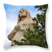 Chief Blackhawk Statue Throw Pillow by Bruce Bley
