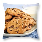 Chocolate chip cookies and milk Throw Pillow by Elena Elisseeva