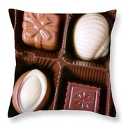Chocolates Closeup Throw Pillow by Carlos Caetano