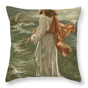 Christ Walking On The Waters Throw Pillow by John Lawson