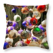 Christmas Holiday Decor - Mouth Blown And Hand Painted Throw Pillow by Christine Till