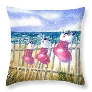 Christmas Stockings Throw Pillow by Joseph Gallant