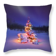 Christmas Tree Glowing Under The Throw Pillow by Carson Ganci