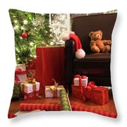 Christmas Tree With Gifts Throw Pillow by Sandra Cunningham