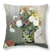Chrysanthemums In A Chinese Vase Throw Pillow by Camille Pissarro