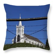 Church And Barbed Wire Throw Pillow by Garry Gay