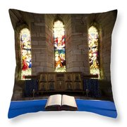 Church And Open Bible, Holy Island Throw Pillow by John Short
