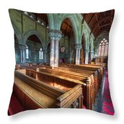 Church Benches Throw Pillow by Adrian Evans