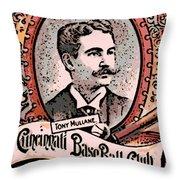 Cincinnati Baseball Throw Pillow by George Pedro