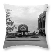 Citi Field In Black And White Throw Pillow by Rob Hans
