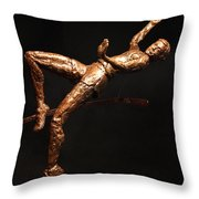 Citius Altius Fortius Olympic Art High Jumper On Black Throw Pillow by Adam Long