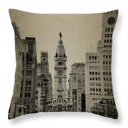 City Hall From North Broad Street Philadelphia Throw Pillow by Bill Cannon
