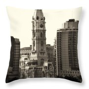 City Hall From The Parkway - Philadelphia Throw Pillow by Bill Cannon
