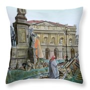 City Of Milan In Italy Under Water Throw Pillow by Fabrizio Cassetta