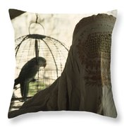 Close-up Of A Woman And A Parakeet - Throw Pillow by James L. Stanfield