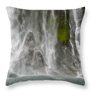 Close Up Of One Of The Many Waterfalls Throw Pillow by Brooke Whatnall
