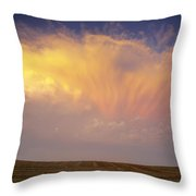 Clouds Over Canola Harvest, Saint Throw Pillow by Yves Marcoux