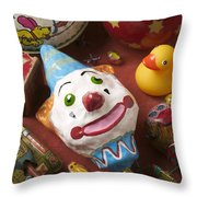 Clown Rattle And Old Toys Throw Pillow by Garry Gay