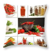 Collage Of Different Colorful Spices For Seasoning Throw Pillow by Sandra Cunningham