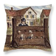 Colonial Stocks Throw Pillow by Granger