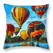 Colorado Springs Hot Air Balloons Throw Pillow by Nikki Marie Smith
