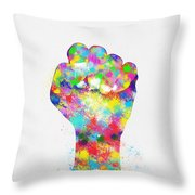 Colorful Painting Of Hand Throw Pillow by Setsiri Silapasuwanchai
