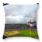 Comerica Park Home Of The Detroit Tigers Throw Pillow by Michelle Calkins
