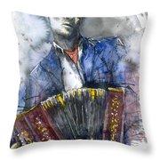 Concertina Player Throw Pillow by Yuriy  Shevchuk