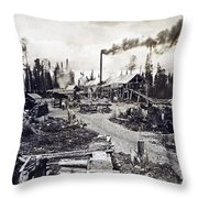 Concord New Hampshire - Logging Camp - C 1925 Throw Pillow by International  Images