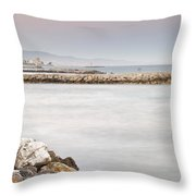 Constructions At The Sea Throw Pillow by Guido Montanes Castillo