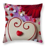 Cookie And Candy Hearts Throw Pillow by Garry Gay