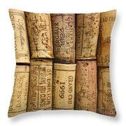 Corks Of Fench Vine Of Bordeaux Throw Pillow by Bernard Jaubert